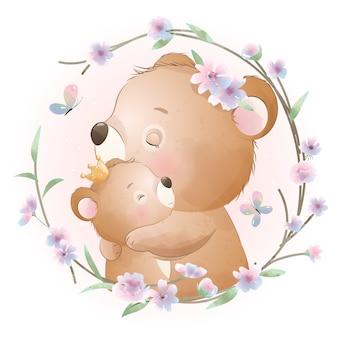 Lindo oso doodle con ilustración floral