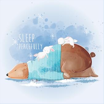 Lindo oso durmiendo pacíficamente