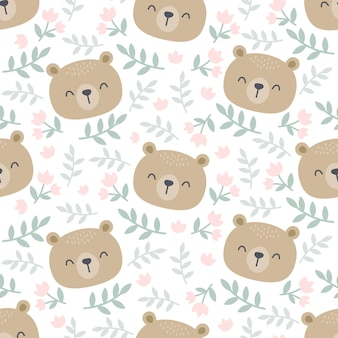 Lindo oso y fondo floral de patrones sin fisuras
