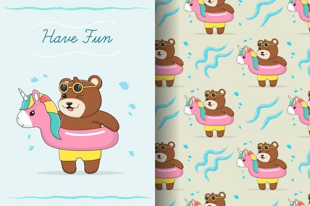 Lindo oso de goma unicornio nadar anillo de patrones sin fisuras y tarjeta