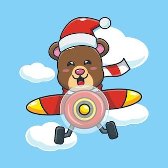 Lindo oso con gorro de papá noel vuela con avión linda ilustración de dibujos animados de navidad