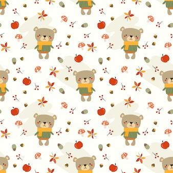 Lindo oso y hojas de otoño de patrones sin fisuras.
