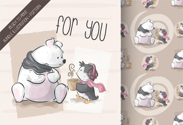 Lindo oso con ilustración de pingüino con patrones sin fisuras
