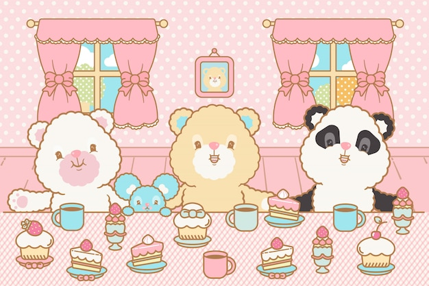 Lindo oso kawaii, ratón bebiendo cacao y comiendo pastel