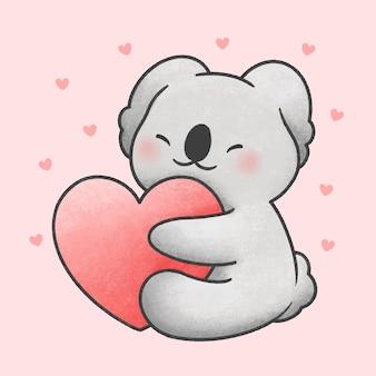 Lindo oso koala abrazando corazón dibujos animados estilo dibujado a mano