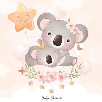 Lindo oso koala doodle con ilustración floral