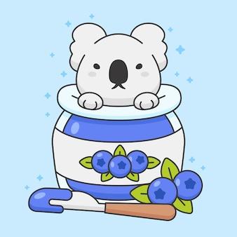 Lindo oso koala en un tarro de mermelada de arándanos