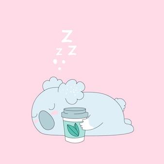 Lindo oso koala con taza de té, café