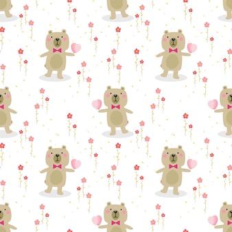 Lindo oso mantenga un patrón sin costuras de corazón.