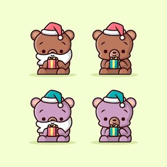 Lindo oso marrón y púrpura sosteniendo un pequeño regalo de navidad