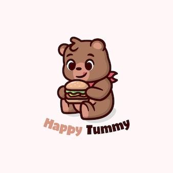 Lindo oso marrón sienta y sostiene un gran logotipo de dibujos animados de hamburguesa para negocios culinarios