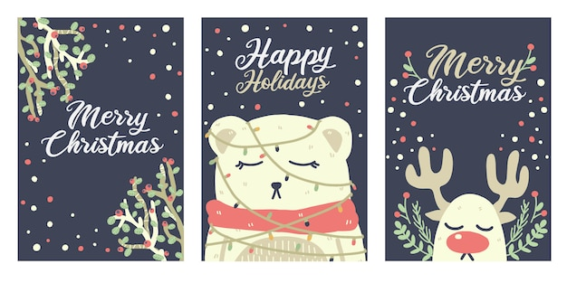 Lindo oso de navidad, renos y adornos en tarjetas