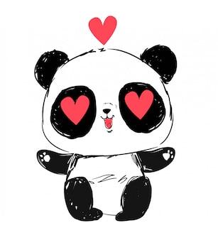 Lindo oso panda cara. mirada amorosa personaje animado. ilustración.