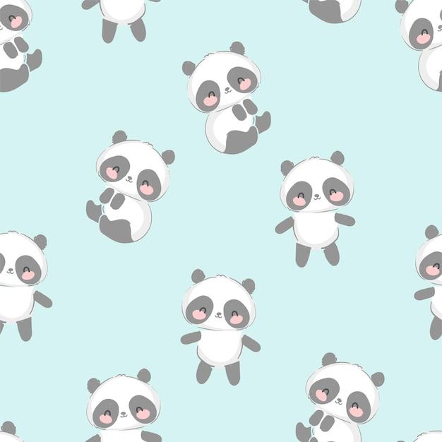 Lindo oso panda dibujado a mano de patrones sin fisuras