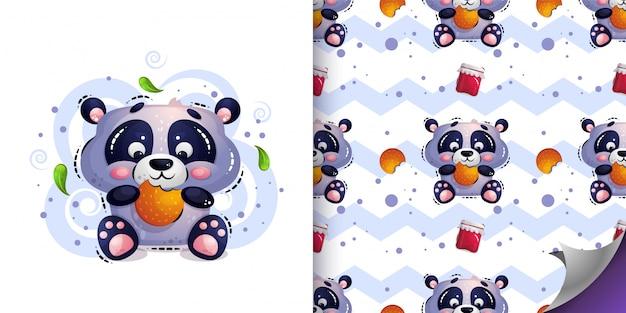 Lindo oso panda hambriento se sienta y come galletas.