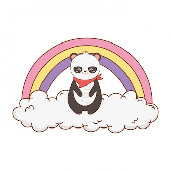 Lindo oso panda en las nubes con arcoiris