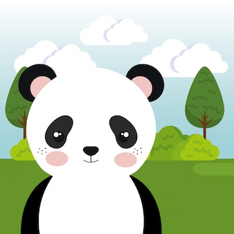Lindo oso panda en el personaje de paisaje de campo
