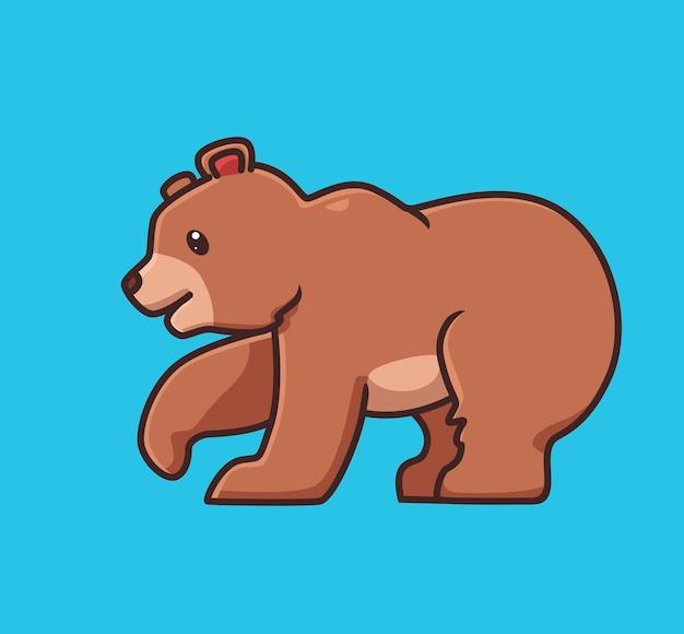 Lindo, oso pardo, marrón, walking., caricatura, animal, naturaleza, concepto, aislado, illustration. estilo plano adecuado para el vector de logotipo premium de diseño de icono de etiqueta. personaje de mascota