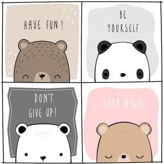 Lindo oso de peluche adorable panda polar con tarjeta de dibujos animados de cita de motivación