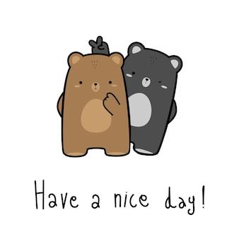 Lindo oso de peluche burlarse de su amigo saludo doodle de dibujos animados