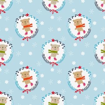 Lindo oso de peluche en patrón transparente de tema de invierno de navidad