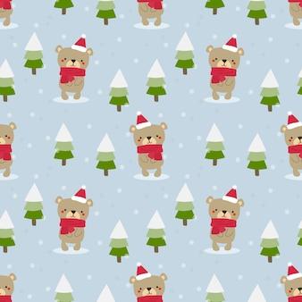 Lindo oso de peluche en patrones sin fisuras del tema de navidad