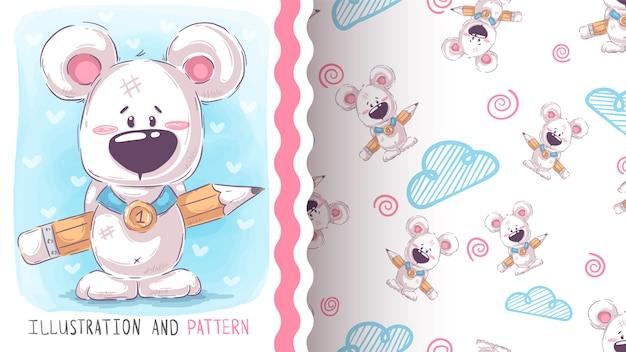 Lindo oso de peluche - patrones sin fisuras