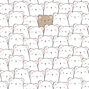 Lindo un oso de peluche rodeado de osos polares dibujos animados doodle diseño plano de patrones sin fisuras