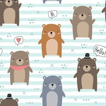 Lindo oso de peluche saludo dibujos animados doodle de patrones sin fisuras