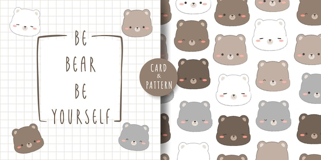 Lindo oso de peluche y tarjeta de doodle de dibujos animados de cabeza de oso polar y patrones sin fisuras