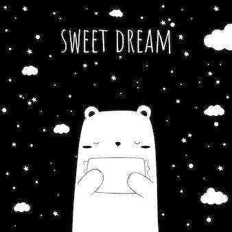 Lindo oso polar adorable abrazando una almohada para dormir por la noche doodle de dibujos animados con tarjeta de fondo de dulce sueño