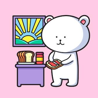 Lindo oso polar comiendo pan