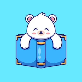 Lindo oso polar con ilustración de icono de vector de dibujos animados de libro. concepto de icono de educación animal aislado vector premium. estilo de dibujos animados plana