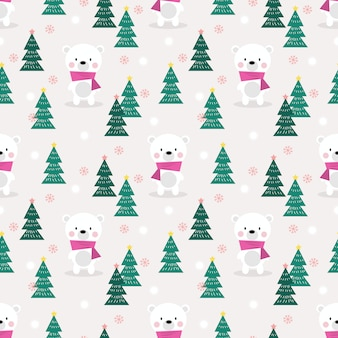 Lindo oso polar en navidad de patrones sin fisuras