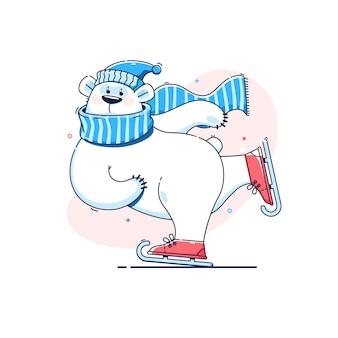 Lindo oso polar en patines de hielo.