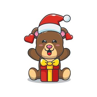 Lindo oso con regalo de navidad linda ilustración de dibujos animados de navidad