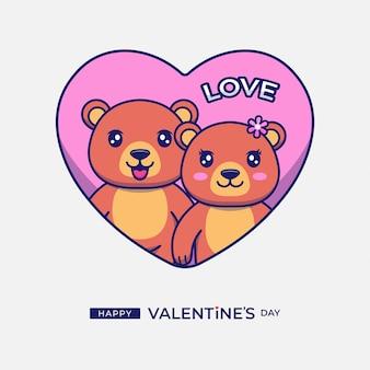 Lindo oso con saludo feliz día de san valentín
