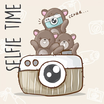 Lindo oso selfie dibujado a mano animal