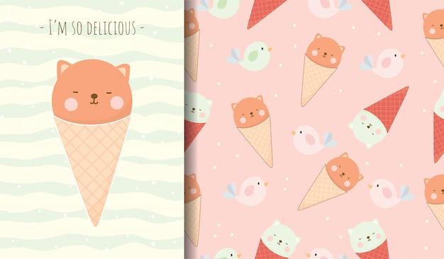 Lindo oso en tarjeta de dibujos animados de cono de helado y patrones sin fisuras para niño.