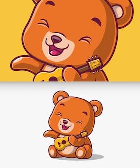 Lindo oso tocando la ilustración del icono de guitarra. oso mascota personaje de dibujos animados.