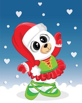 Lindo oso con traje de navidad. elemento gráfico para el día de navidad, libro infantil, álbum, álbum de recortes, postal.