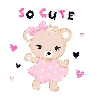 Lindo oso vestido con texto y corazones.