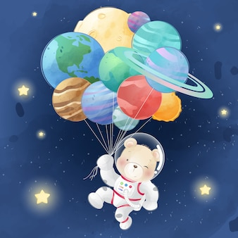 Lindo oso volando con globos planetarios