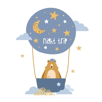Lindo oso vuela en un globo de aire caliente.