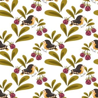 Lindo pájaro y bayas de patrones sin fisuras.