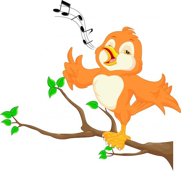 Canto De Un Pájaro Con Las Notas Musicales Icono Gratis