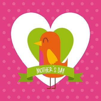 Lindo pájaro en corazones ama el día de las madres