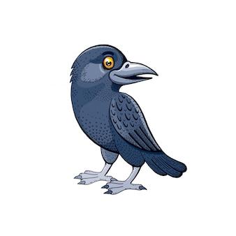 Lindo pájaro cuervo. dibujos animados cuervo bebé con dulce sonrisa.