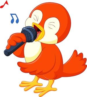 Lindo pájaro naranja cantando