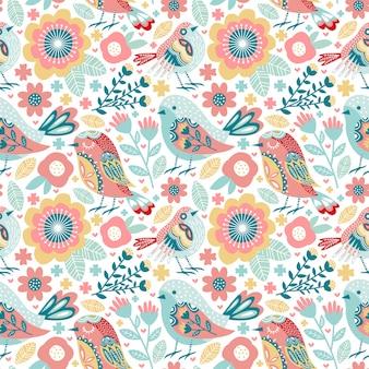 Lindo pájaro de patrones sin fisuras con coloridas flores y follaje